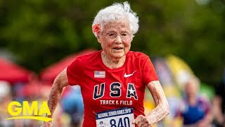 103-year-old nicknamed the 'Hurricane' wins yet another gold in 100-meter dash | GMA