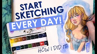 Download HOW TO SKETCH EVERY DAY | Sketching Daily Art Advice | Watercolor Painting in my Sketchbook Video