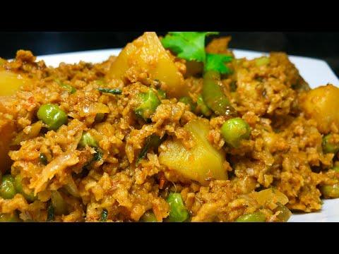 Protein Rich Soya Granules Aloo matar ki Sabzi | Vegetarian keema recipe | Easy lunchbox recipe
