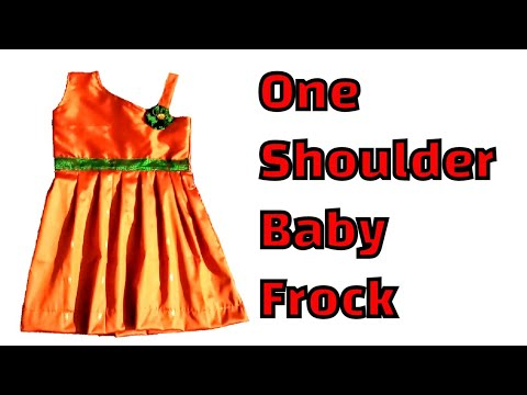 How to cut and stitch one shoulder baby dress..