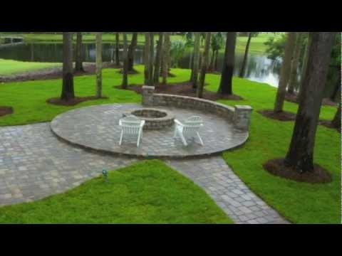 Ponte Vedra Paver Patio Design and Construction with Seat Wall & Fire Pit