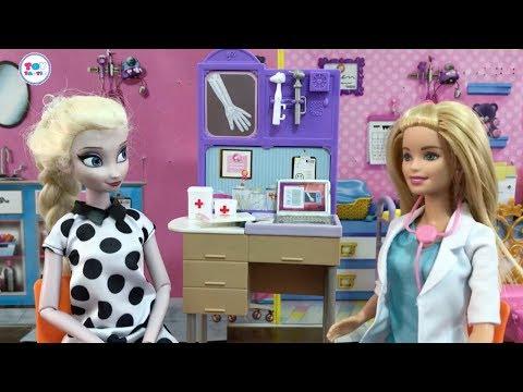 Barbie Dolls videos! Dreamhouse Doll House Episodes! Elsa Rapunzel Go Doctor! Candy Challenge!