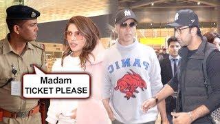 Priyanka STOPPED By Security At Mumbai Airport With Akshay Twinkle, Anushka, Ranbir | SPOTTED