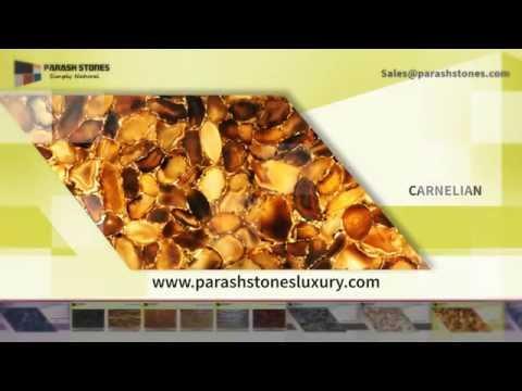SEMI PRECIOUS SLAB & SURFACE IN ABALONE, CARNELIAN, SODALITE & TIGER EYE -  Parash Stones Luxury