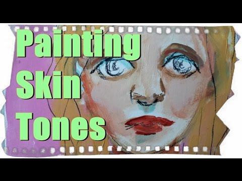 How to paint Skin Tones tutorial. Mix colors for portrait