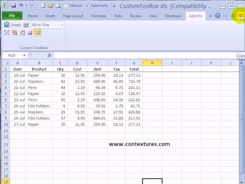 Remove Custom Toolbar from Add-Ins Tab in Excel 2007