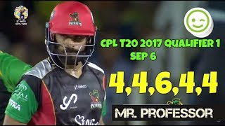 Mohammed Hafeez Mr Professor Blasting Boundaries In Qualifier 1 vs Knight Riders , Sep 6 CPL 2017