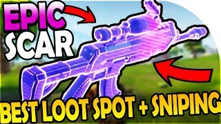 EPIC SCAR + BEST LOWKEY LOOT SPOT / LOCATION + SNIPER SNIPING - FREE Fortnite Battle Royale Gameplay