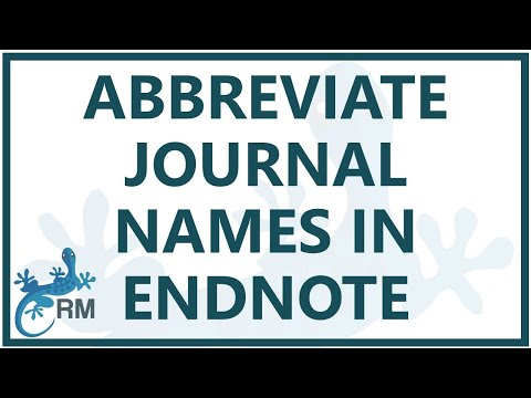 Endnote reference list: How to abbreviate journal names using EndNote X7