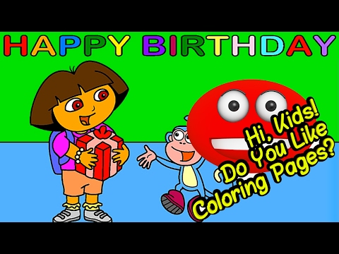 Dora and Boots  Happy Birthday Coloring Page