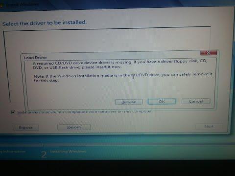 Windows 7 - CD / DVD driver missing ERROR BUG FIX installing from DVD or USB