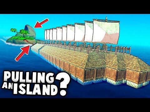 BATTLESHIP Raft Pulls an ISLAND!?  (RAFT 2018 Gameplay)