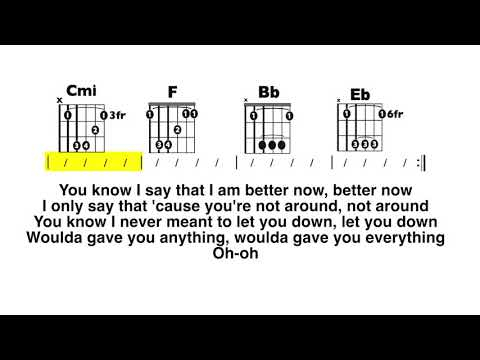 Better Now (Post Malone) CLEAN Chord/Lyric PlayAlong