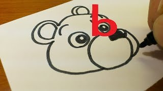 """Very Easy ! How to draw BEAR doodle using letter """"b"""" step by step for kids"""