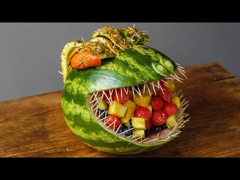 How to Turn a Watermelon Into a T-Rex Centerpiece