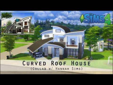 The Sims 4 House Building - Curved Roof House (collab w/ Hannah Sims)