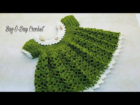 CROCHET How To #Crochet Lil Sprout Baby Dress 0-6 months TUTORIAL #363 LEARN CROCHET