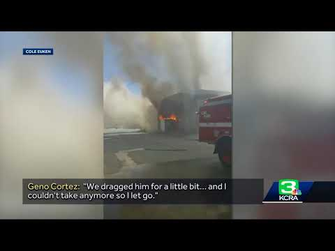 CHP officer talks about helping firefighter from blaze at NorCal market