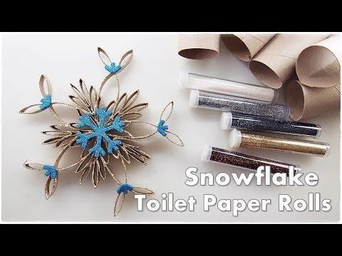 DIY Toilet Paper Rolls Christmas Ornaments Gorgeous Sparkly SNOWFLAKE ♡ Maremi's Small Art ♡