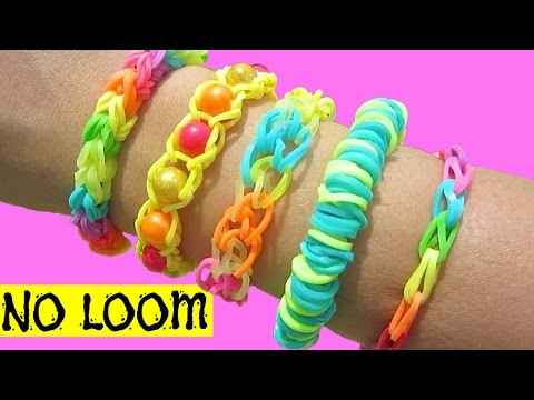 5 Easy Rainbow Loom Bracelet Designs without a Loom | DIY Rubber Band Bracelets