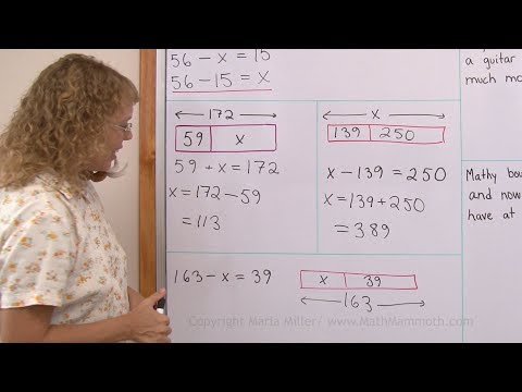 Bar models in addition and subtraction problems - 4th grade math