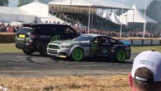 vaughn jr drifting mustang joined by stunt driver terry grant festival of speed 2017