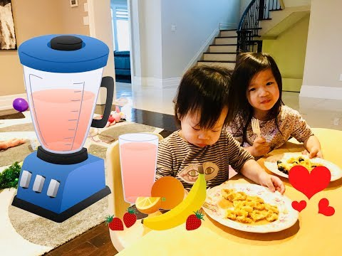 Quick and Easy kids breakfast idea best healthy smoothie recipe, hash brown, egg, yougurt!