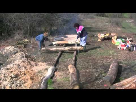 Fire Charring Oak Post for Round House.mp4