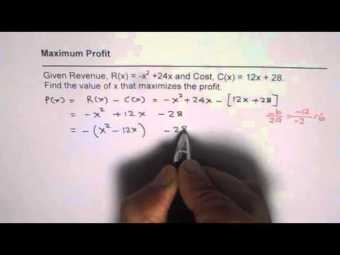 Determine Maximum Profit From Revenue and Cost Function