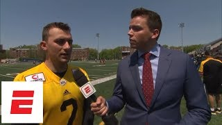 Johnny Manziel after practicing with Hamilton Tiger-Cats of CFL: