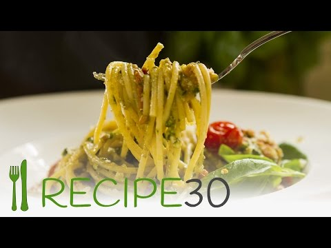 Easy to make SPAGHETTI AL FRESH PESTO - By www.recipe30.com