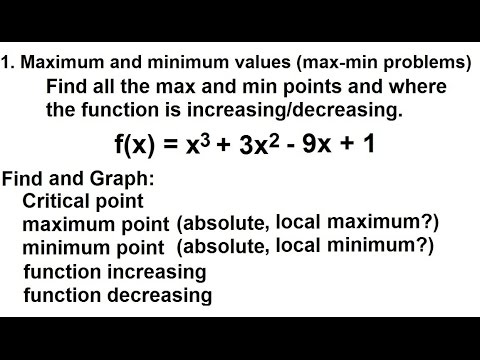 Calculus - Application of Differentiation (4 of 60) Max/Min Values: Ex. 3 f(x)=x^3+3x^2-9x+1