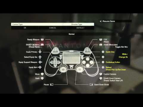 Metal Gear Solid V: The Phantom Pain - Dual Shock 4 Control Types: (Action & Shooter Options) PS4