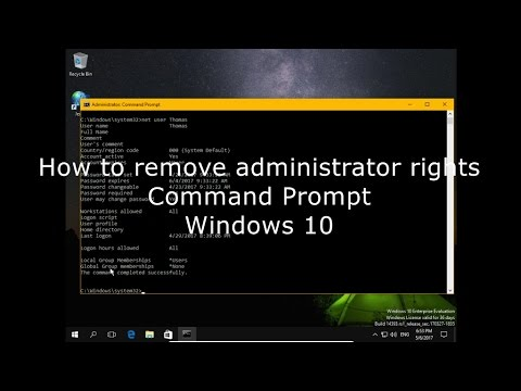 How to remove administrator rights Command Prompt Windows 10