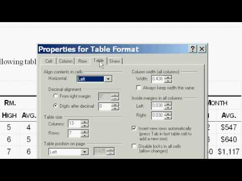 HowTo Center a Table in WordPerfect