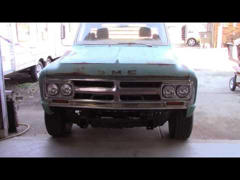 1968 GMC converted to 2500HD Part 12 Custom fabricated front bumper. Welded steel.