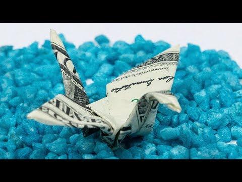 Dollar Bill Origami CRANE, bird MONEY folding tutorial in 4K
