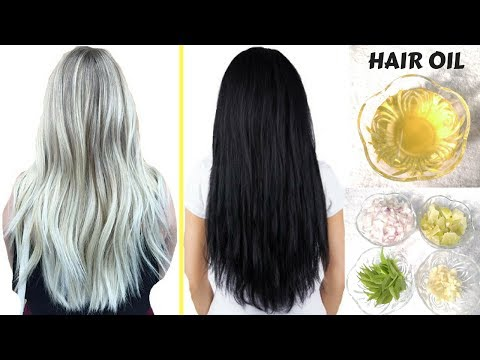 How To Get Rid Of White / Grey Hair PERMANENTLY | Homemade Hair Oil For Black, Long & Healthy Hair