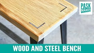 Wood and Steel Bench - Carved Textured Seat
