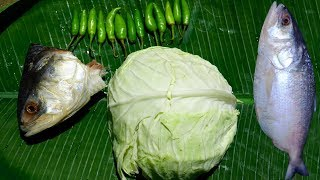 BIG HILSHA HEAD AND CABBAGE Recipe Prepared by our Grandmother and Mother in Village Style