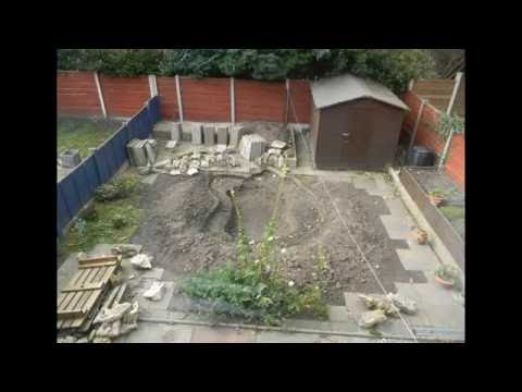 Pond creation with rockery and stream. Part 1