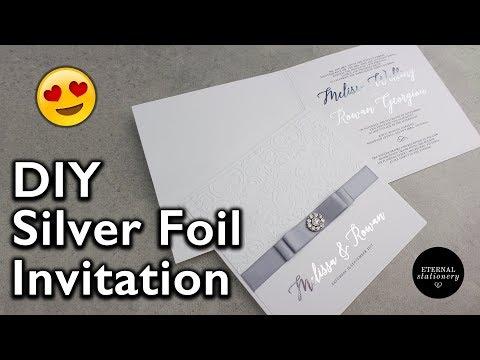 Elegant Silver Foiled Embossed Damask Invitation | Wedding Invitation DIY | Eternal Stationery