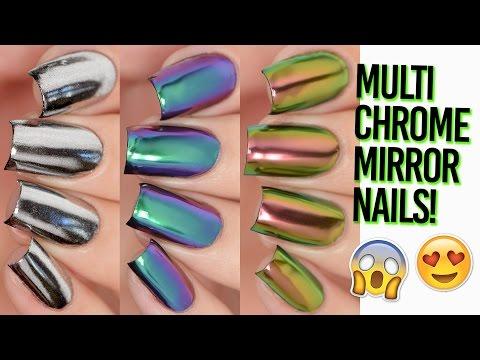 Rainbow Multi-Chrome Mirror Nails Shiny AF! DIY