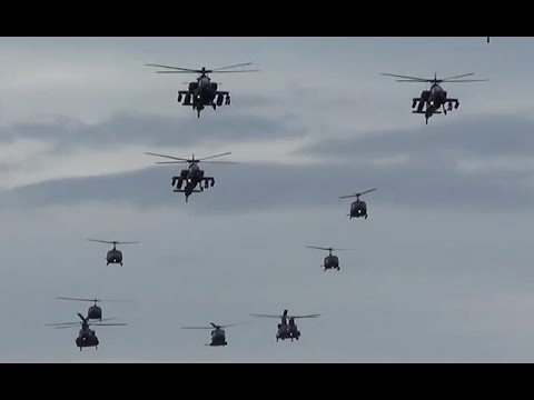 low fly-by military helicopters