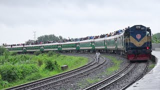 Overcrowded Eid Special Train Nilsagar Express at Beautiful Ishwardi Bypass Rail Curve