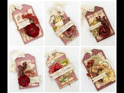 DIY Christmas tags. Prima Victorian Christmas gift card tags.