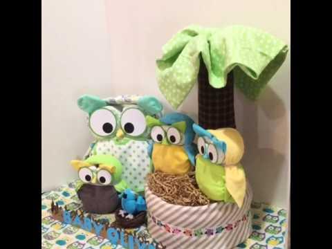Diaper Owl Family Centerpiece