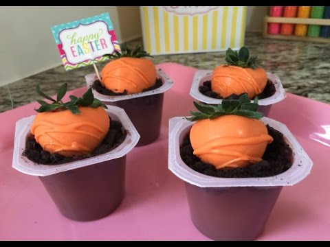 Easter Strawberry Carrots In Dirt Cup(How To)