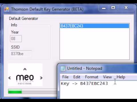 Thomson Default Wireless Key Finder = Routers Meo Key Finder