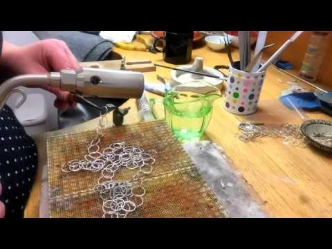 Simone Walsh making a silver chain necklace